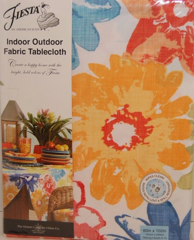 Fiesta 60 x 102 Indoor Outdoor Fabric Tablecloth Sanibel NWT #Fiesta ...