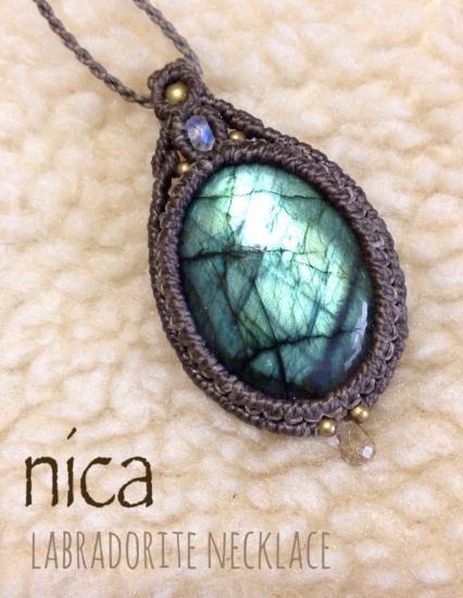 ラブラドライト マクラメネックレス - nica Stone & Accessory