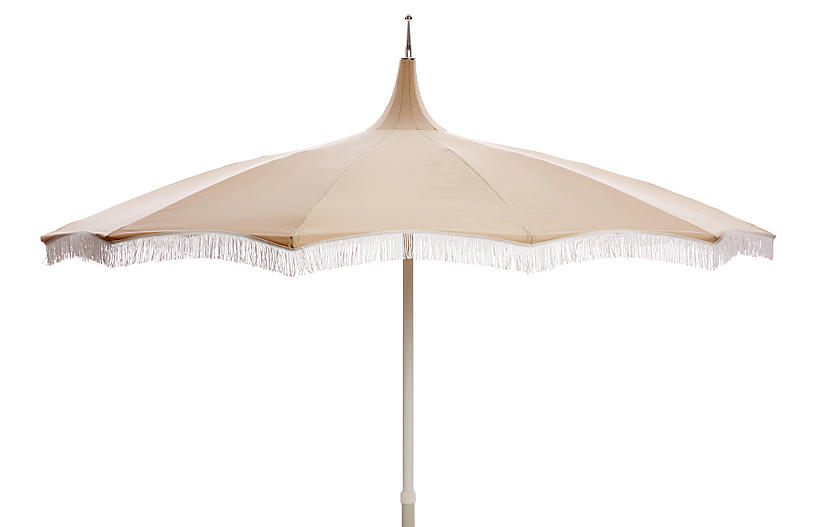 Ari Pagoda Fringe Patio Umbrella Beige White Patio Umbrella
