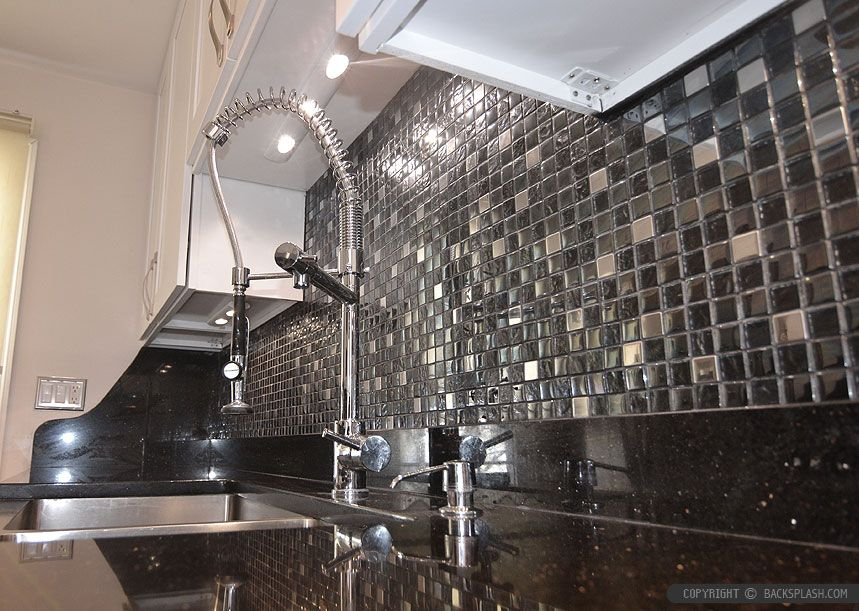 Black Granite White Cabinet Glass Tile Idea  Backsplash Classy Kitchen Backsplash Tile Designs Pictures Review