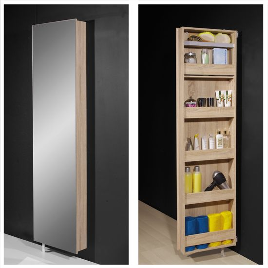 Igma Mirrored Rotating Bathroom And Shoe Storage Cabinet In