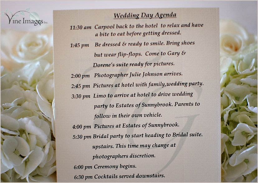 Wedding Day Agenda  Wedding Day Agenda Be Dressed And Ready To