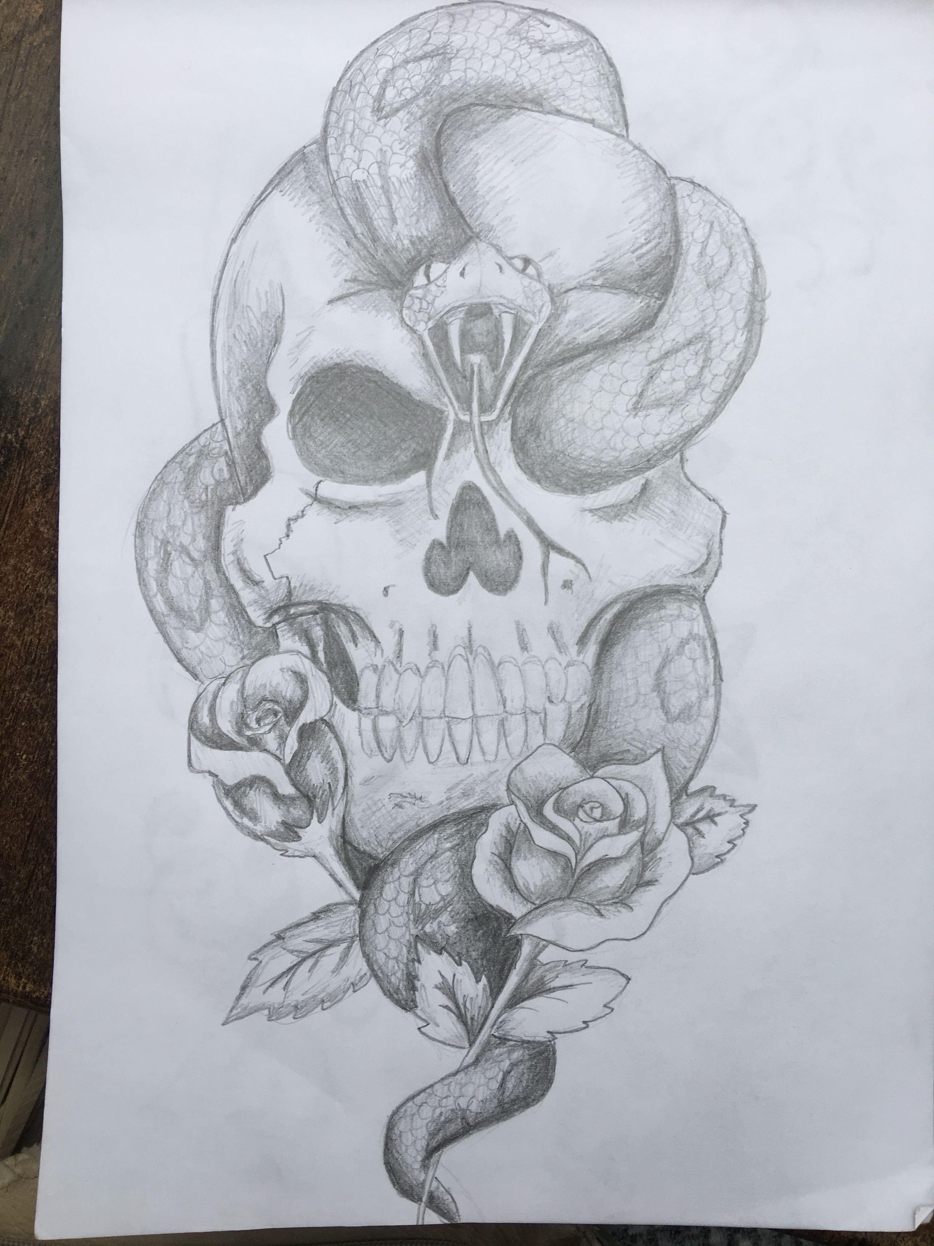 Doodshoofd Slang Tekening Art Tattoo Gezichten Tekenen Tekenen Tatoeage Ideeen