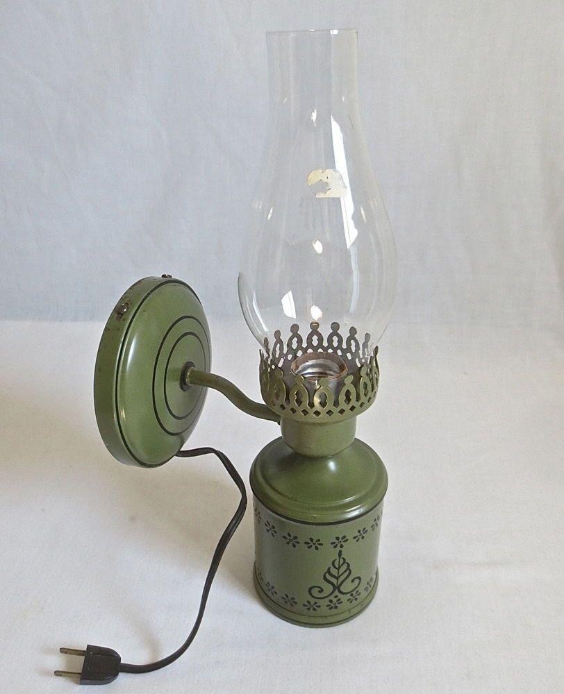 Vintage Rustic Metal Wall Sconce Lantern W Glass Chimney Hanging