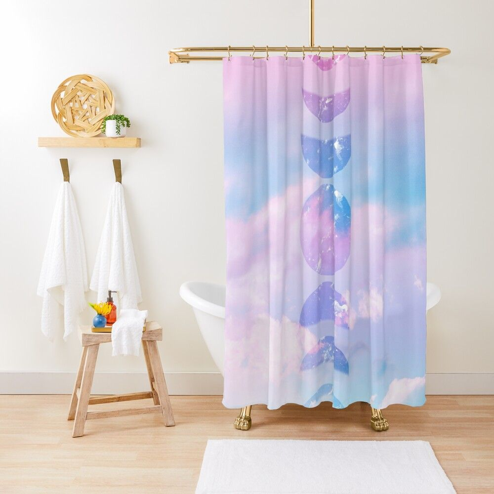 Unicorn Pastel Clouds Moon Phases 1 Decor Art Shower Curtain By Anitabellajantz