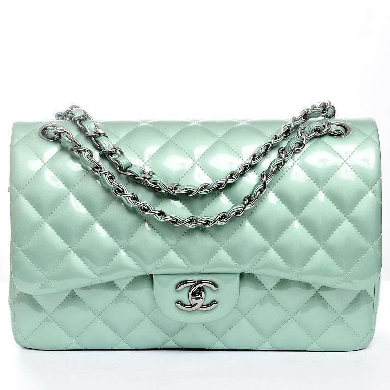 074409b3f Chanel Mint Green Quilted Patent Leather Classic Jumbo 2.55 Double Flap Bag