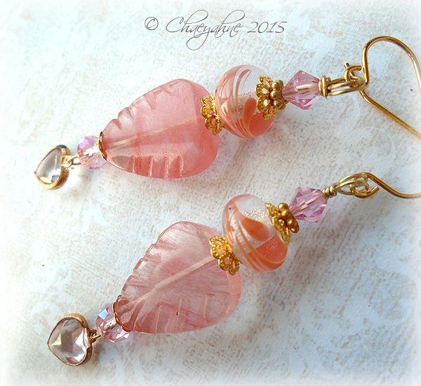 Leaves of Lothlorian Lampwork & Rose Quartz Earrings on ETSY $37.00