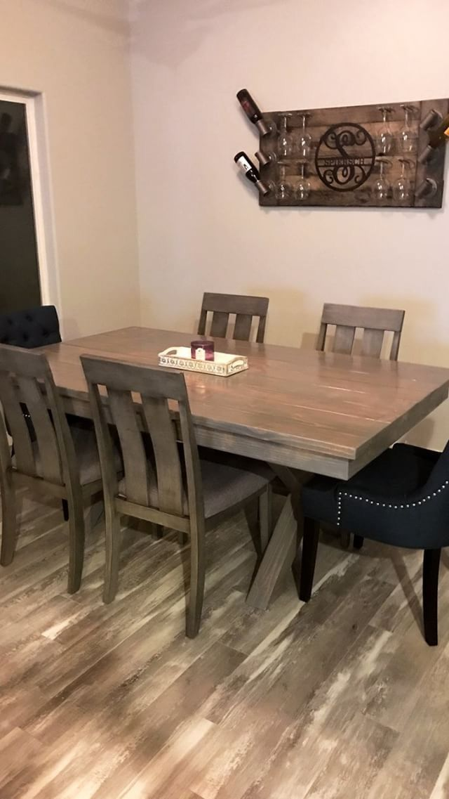 """weathered gray 6' long x 43"""" wide x 30"""" tall dining room"""