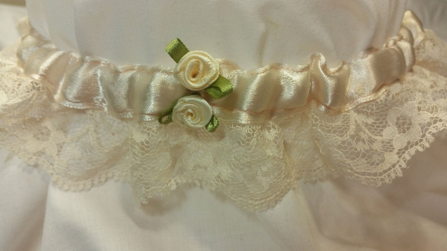 Classic Wedding Garter - Cream Silk Ribbon, Cream Lace, Cream Rosebud Notions with Green Leaves by HemHouse on Etsy
