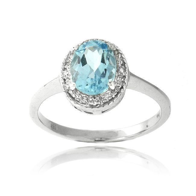 Glitzy Rocks Silver 1 1/2ct TGW Blue Topaz and Diamond Accent Ring (Size 9), Women's