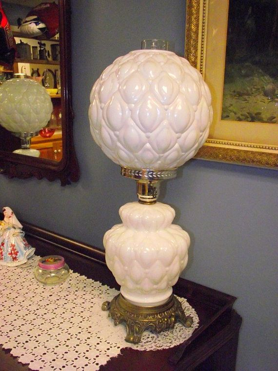 2 Fenton Quilted Milk Glass Globe Lamps Hurricane Gone With The Wind Gwtw A Beautiful Pair Of Lamps Globe Lamps Milk Glass Lamp Lamp