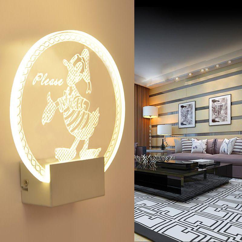 Acrylic Led wall lamps Donald Duck light Creative bedroom bedside ...