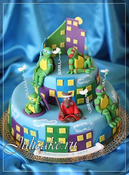 TMNT cake Ninja Turtles with Splinter Happy colors Party Ideas