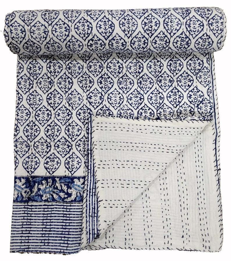 Ajrakh Print Cotton Quilt Queen Kantha Quilt Blue Bedspread Blanket Throw Decor