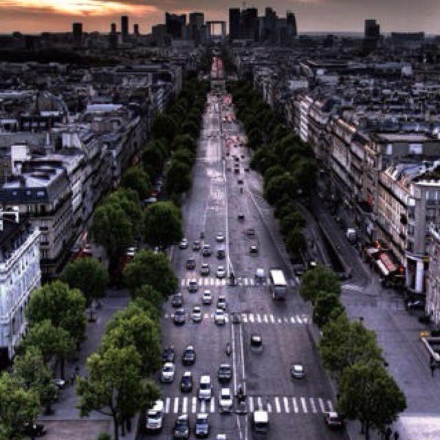 View up the avenue Paris, France