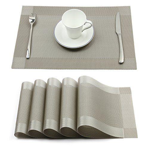 Borlan Vinyl Grey Placemats Heat Resistant Dining Table M Https Www Amazon Com Dp B01lysm0kj Ref Cm Sw R Pi Dp X L7 Grey Placemats Stylish Decor Placemats