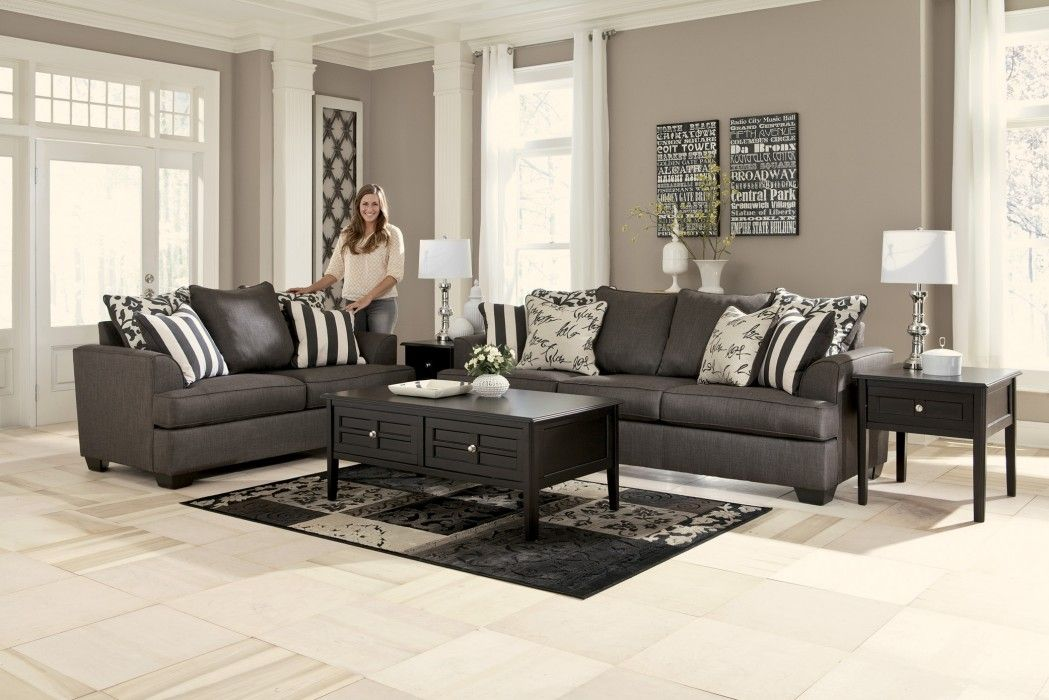 Love this clean look!   Charcoal living rooms, Grey couch ...