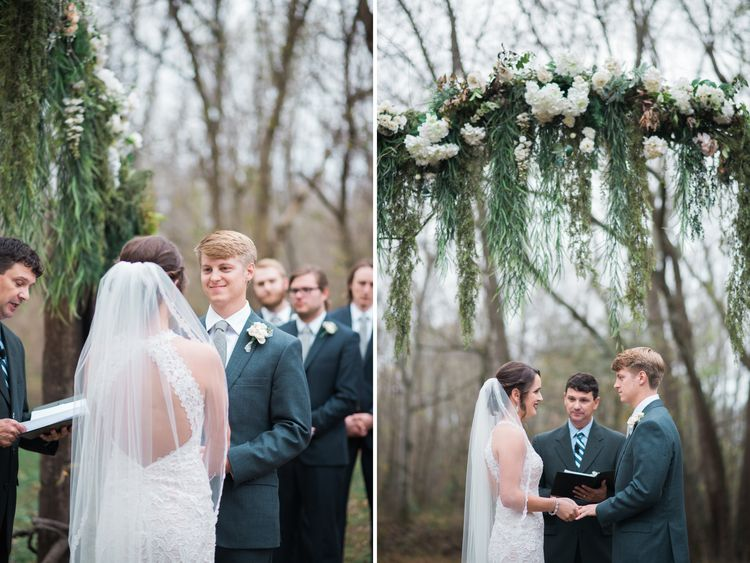 Beautiful fall wedding ceremony with floral arches. Wedding portrait at Cason's Cove in Bowling Green, KY. #photographybyloren #weddingphotography