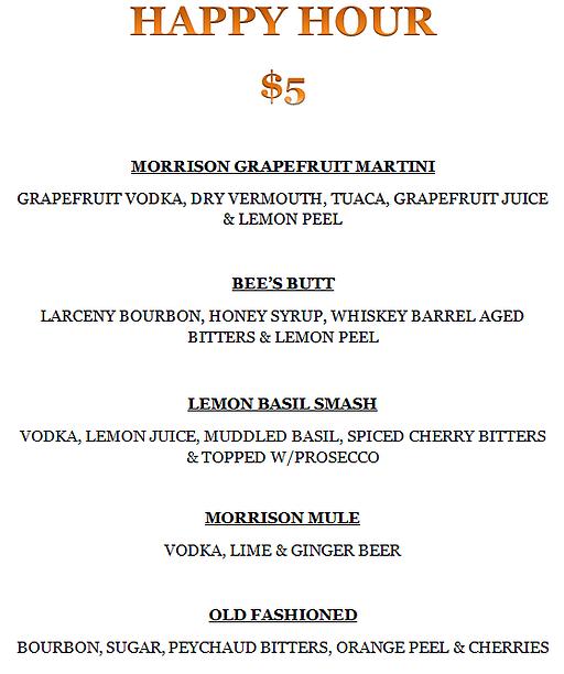 The Morrison Pub Happy Hour Menu Bitter Lemon Peychaud S Bitters