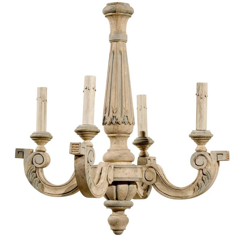 French Four Light Vintage Painted Wood Chandelier From A Unique Collection Of Antique And