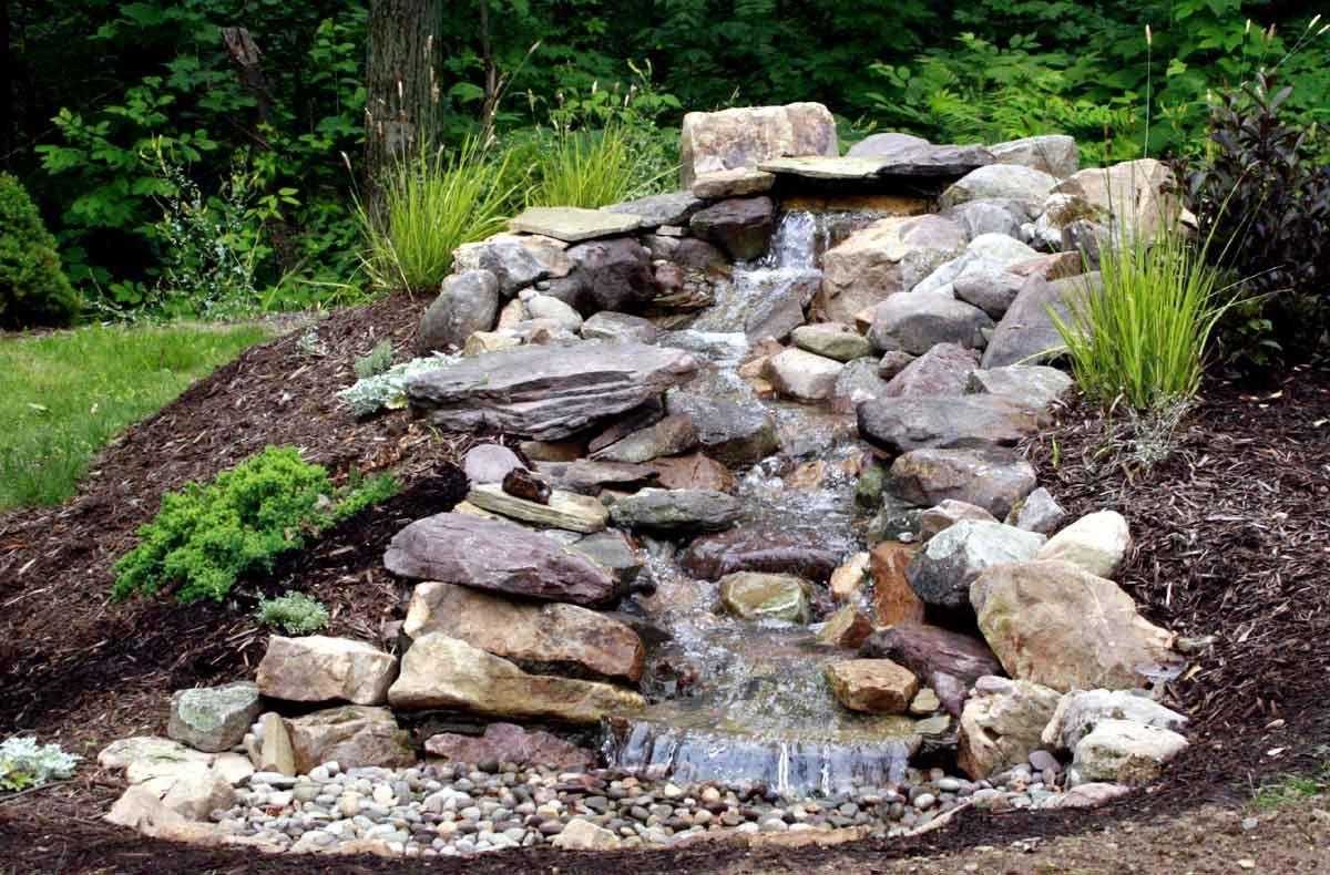 Garden Waterfall Design With Fish Pondss