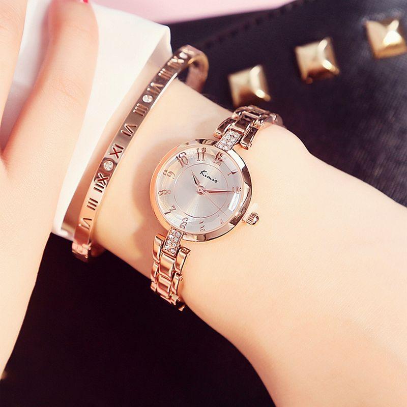 101b25c6626 Barato 2017 marca de moda kimio quartzo relógio de senhoras das mulheres  relógio de luxo strass ouro pulseira de relógios à prova d  água com caixa  de ...