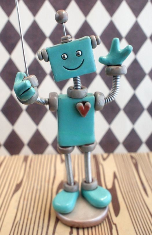 Robot Sculpture Mini Photo Sign Holder Teal Tobias - Made to Order ...