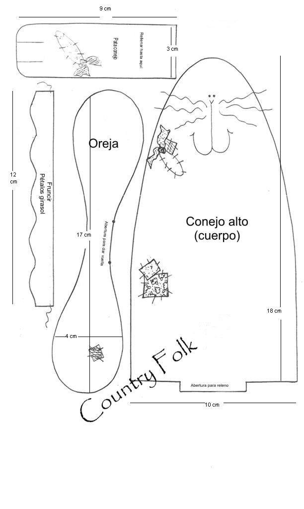 CONEJITO COUNTRY   costura   Pinterest   Conejo, Molde y Patrones