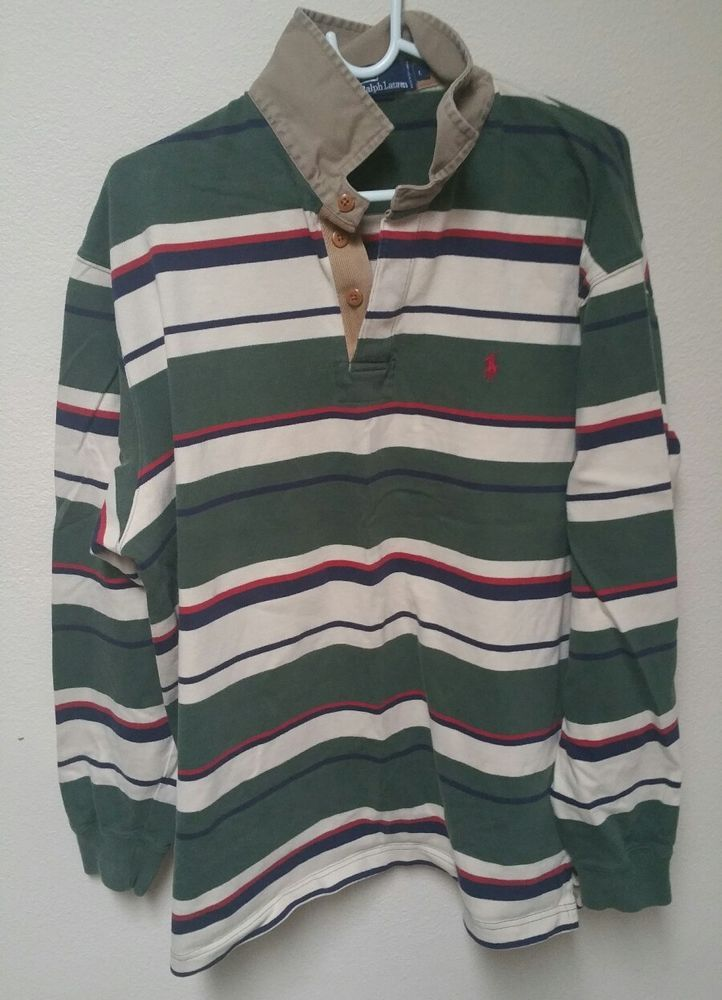 c486c050043 Vintage Ralph Lauren Polo Sport Long Sleeve Cotton Striped Rugby Shirt M |  Clothing, Shoes