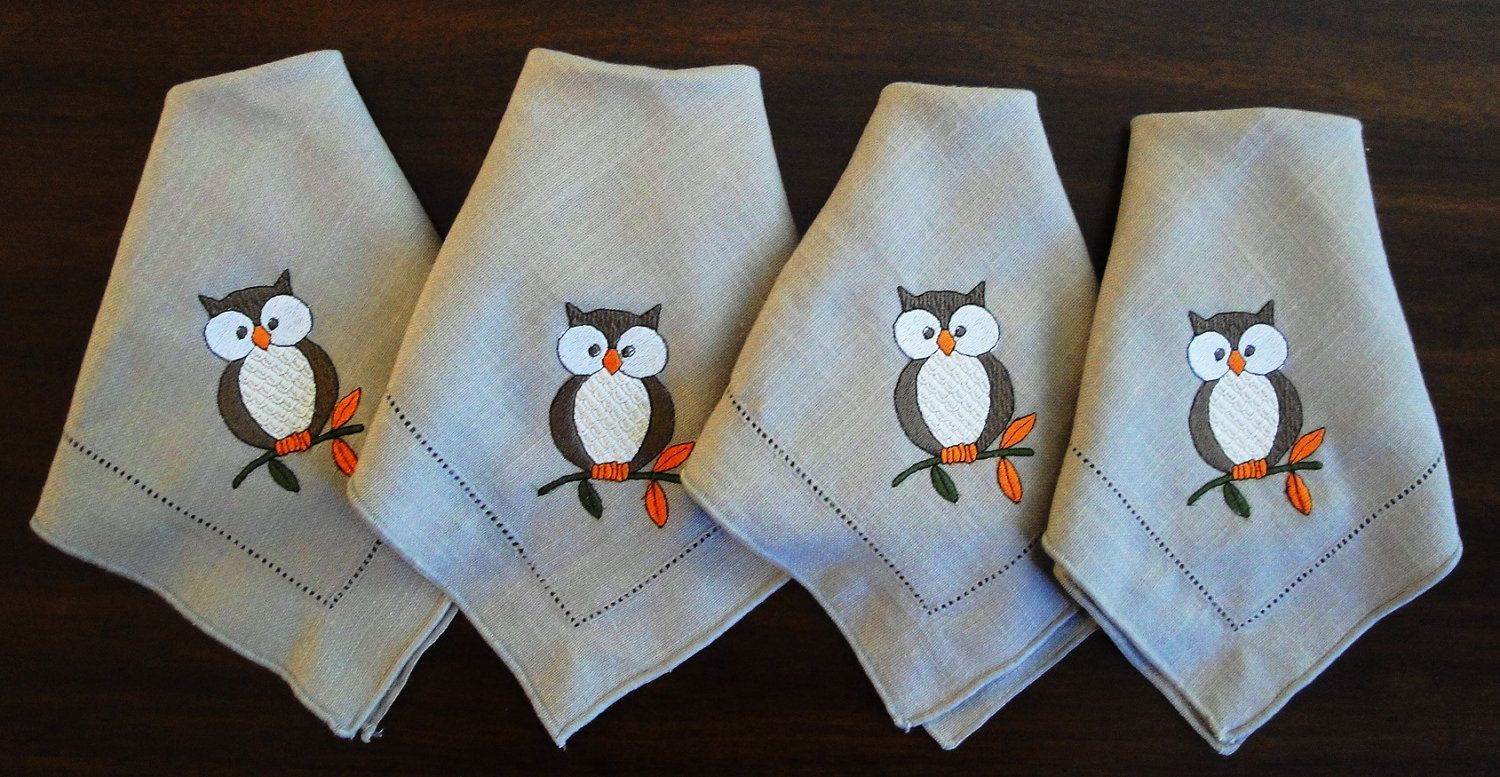 Embroidered Owl Napkins Set of 4 Cloth Upcycled. via Etsy.
