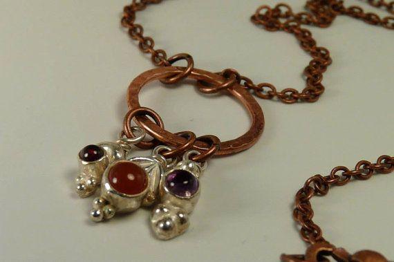 Sterling Silver Charms with Garnet, Carnelian, & Amethyst on Copper Necklace by ksyardbird, $41.00