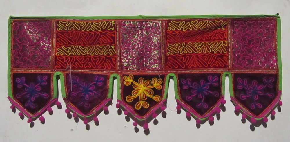 INDIAN COTTON WINDOW VALANCE TOPPER HAND EMBROIDERY DOOR DECOR HANGING TORAN VR3 #Handmade