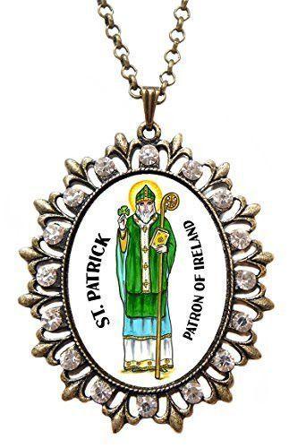 St patrick saint of ireland huge 2 12 antique bronze gold st patrick saint of ireland huge 2 12 antique bronze gold medallion rhinestone aloadofball Choice Image