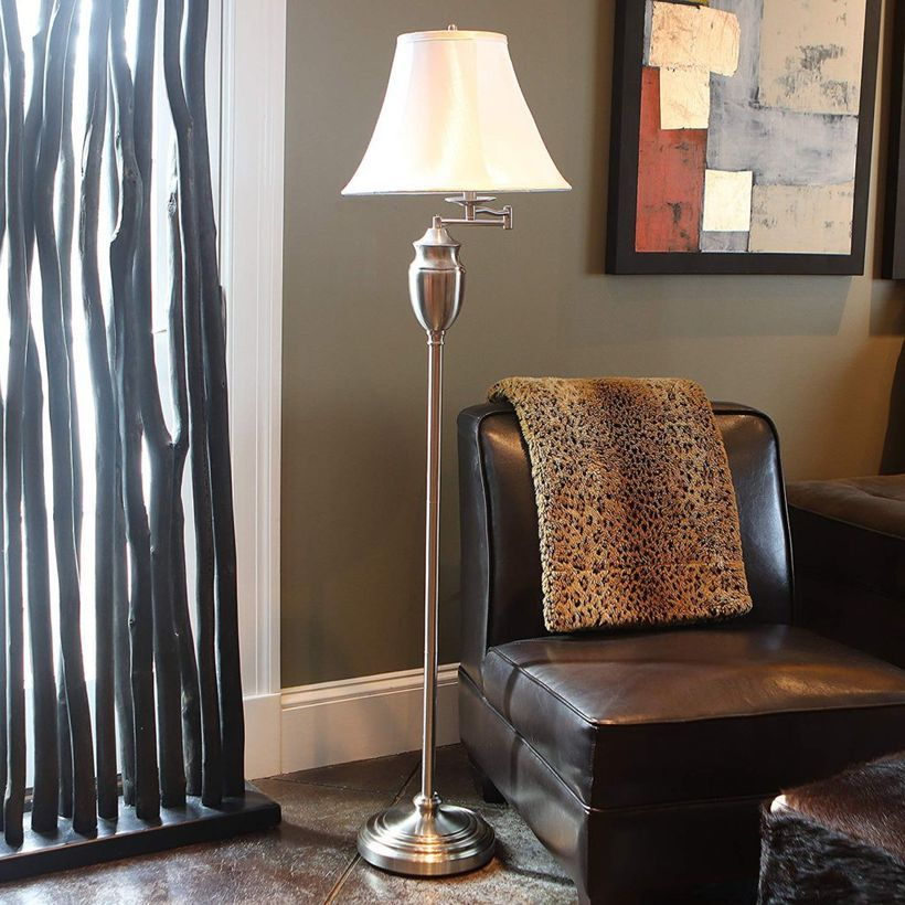 antique brass floor lamp swing arm