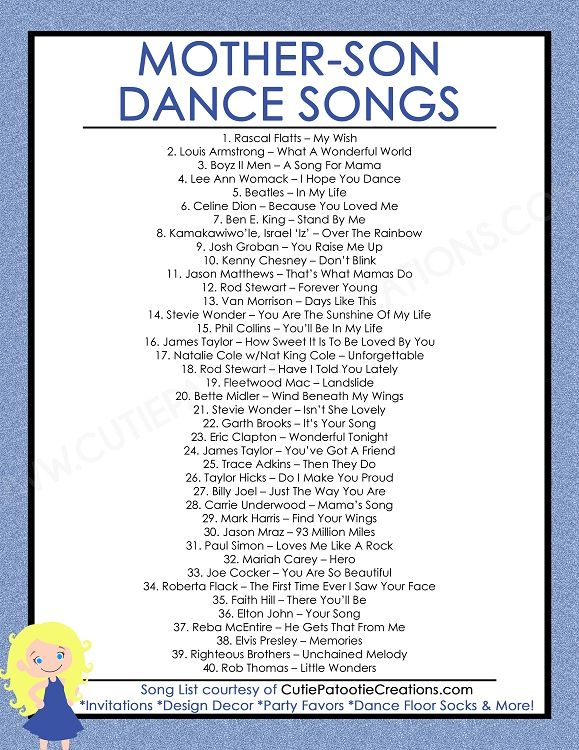 Mother Son Dance Songs For Mitzvahs And Weddings Free Printable List Mother Son Dance Songs Father Daughter Dance Songs Father Daughter Dance