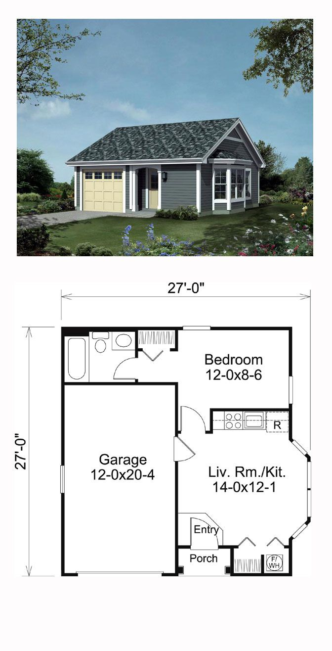 Traditional Style House Plan 95834 With 1 Bed 1 Bath 1 Car Garage Micro House Plans Guest House Plans Tiny House Floor Plans
