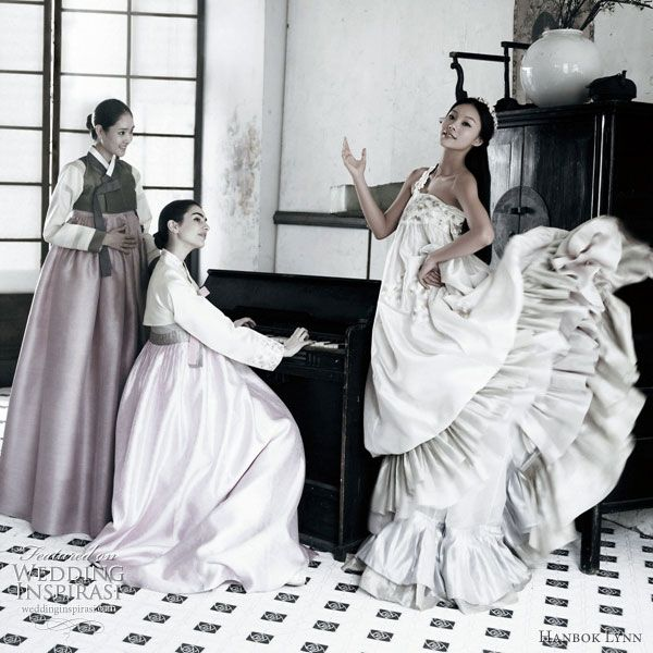 Morden Korean Hanbok Wedding Gown, one shoulder gown with ruffles in a light weight fabric that creates the flow and a feminine feel. KIM MIN JEONG
