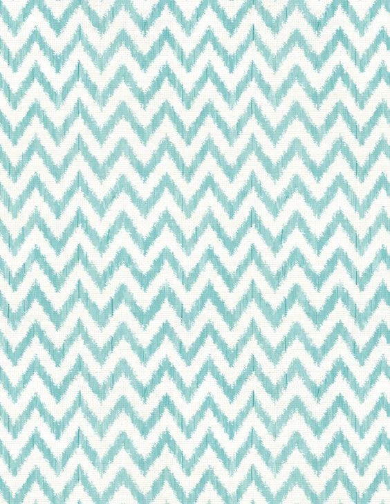 Teal Blue and White Chevron Fabric from \