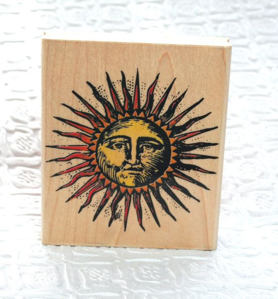 Sun with Face by Inkadinkadoo Rubber Stamp by MyCreativePossession