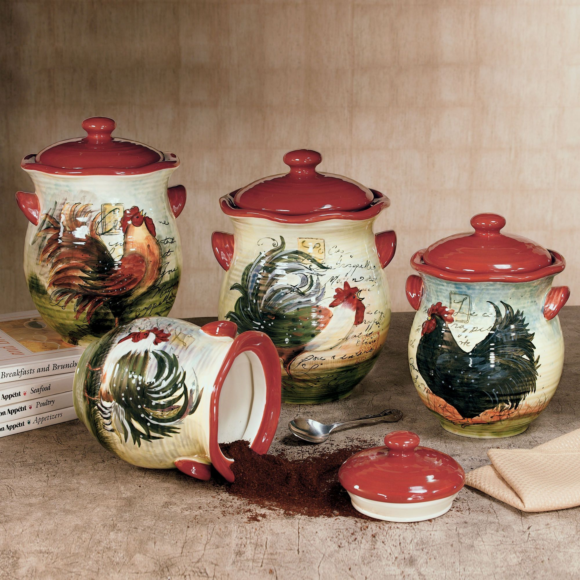 Le Rooster Kitchen Canister Set In 2019 Chickens
