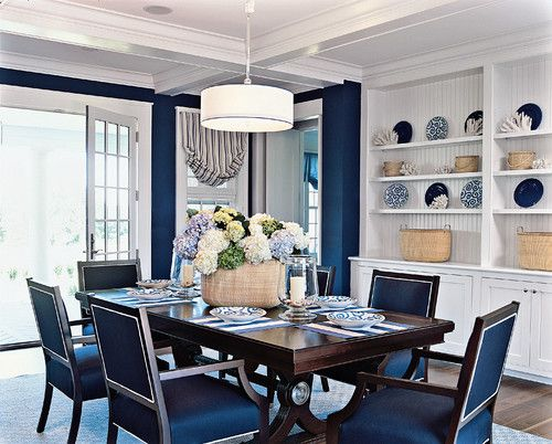 Blue Dining Room Design Pictures Remodel Decor And Ideas Navy Walls Love Dining Room Blue Dining Room Contemporary Nautical Dining Rooms