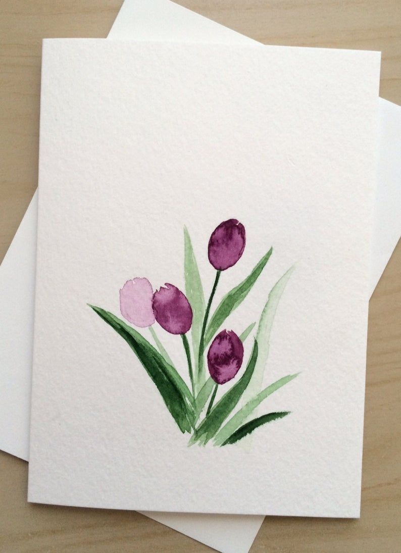 Carte De Voeux 5 X 7 Purple Tulips Carte Vierge Cartes Etsy In 2021 Flower Drawing Watercolor Greeting Cards Watercolor Cards