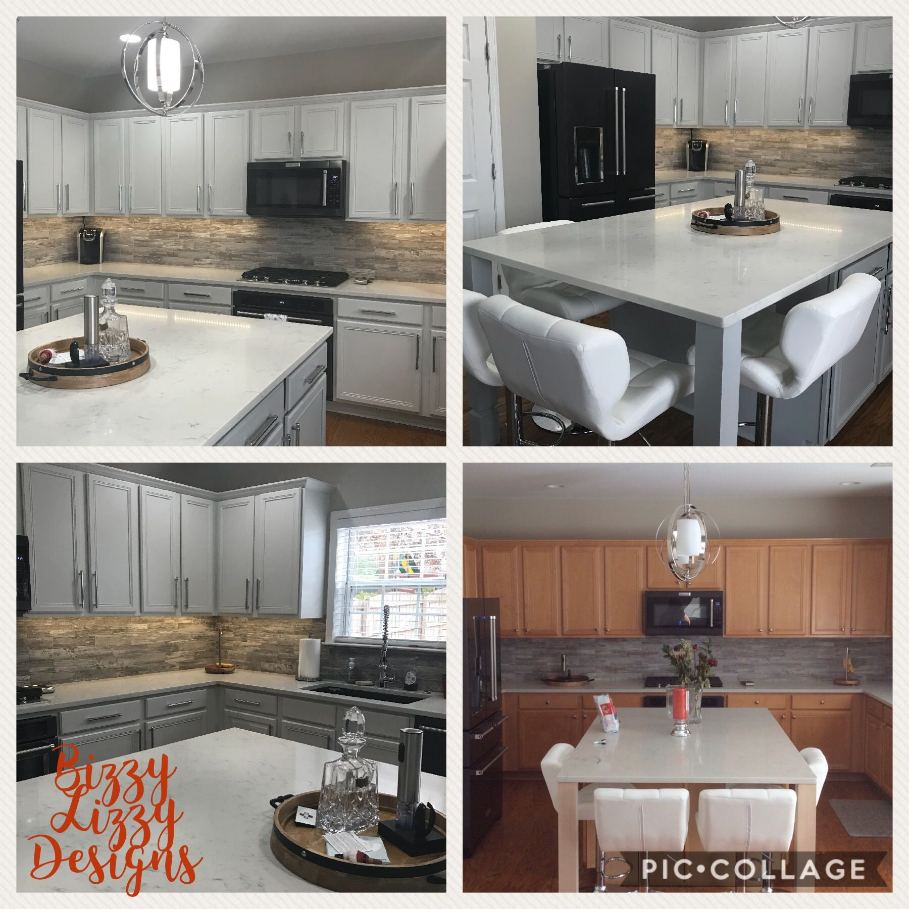 Sherwin Williams Frosty White And Argos Kitchen Cabinets Painted By Bizzy Lizzy Kitchen Interior Design Modern Kitchen Cabinets For Sale White Modern Kitchen