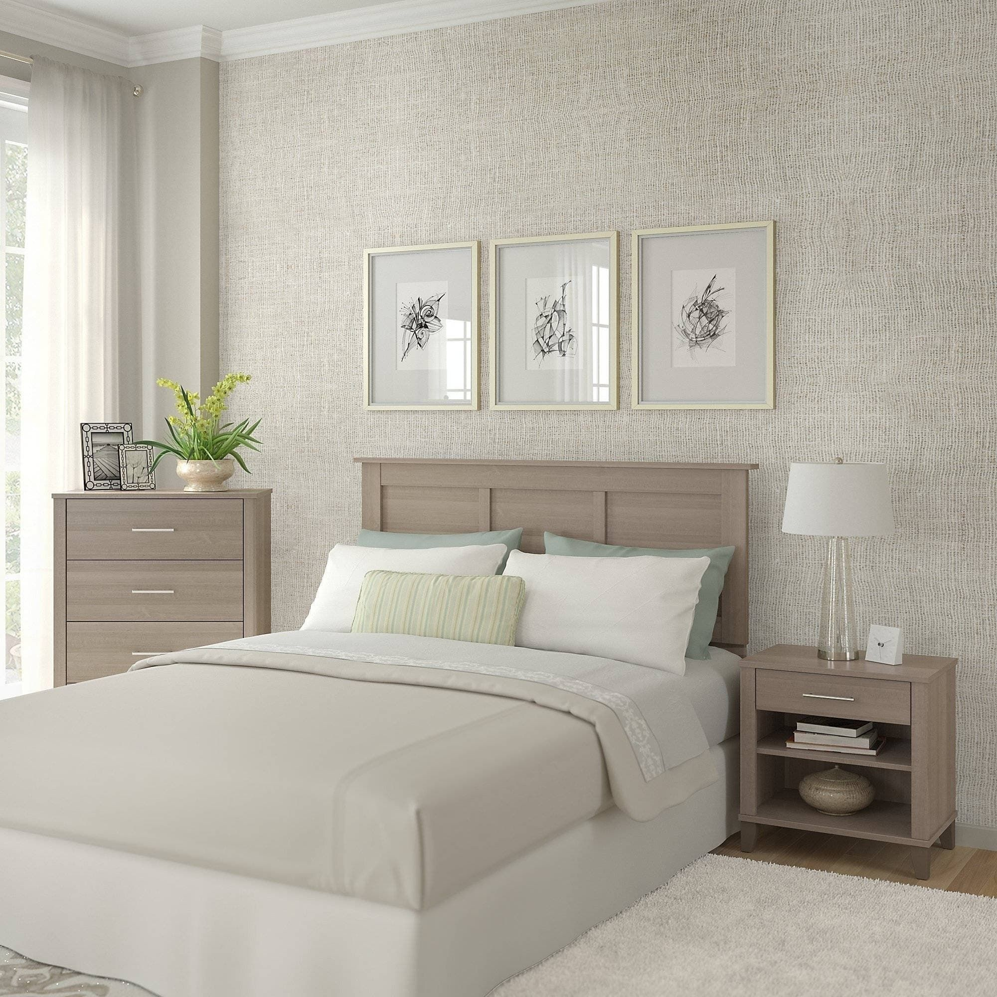 Kids Bedroom Furniture Stores: Oliver & James Elizabeth Ash Grey Headboard, Dresser, And