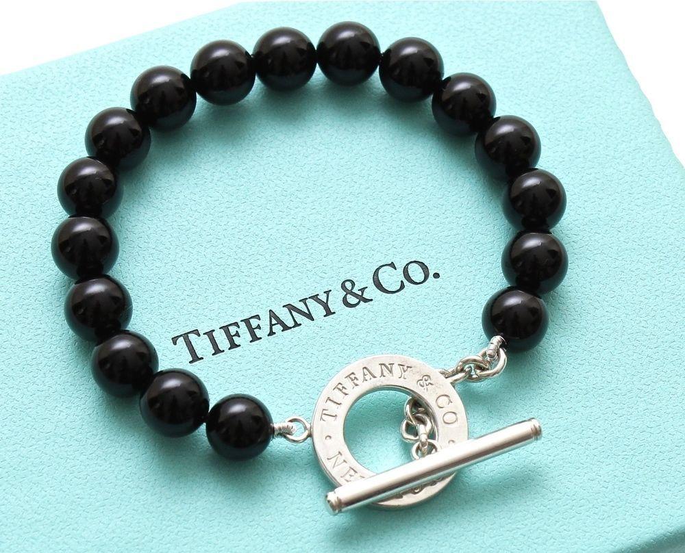 Tiffany & Co Black ONYX BEADS TOGGLE Bracelet Sterling Silver Chain Size S  PEEK!