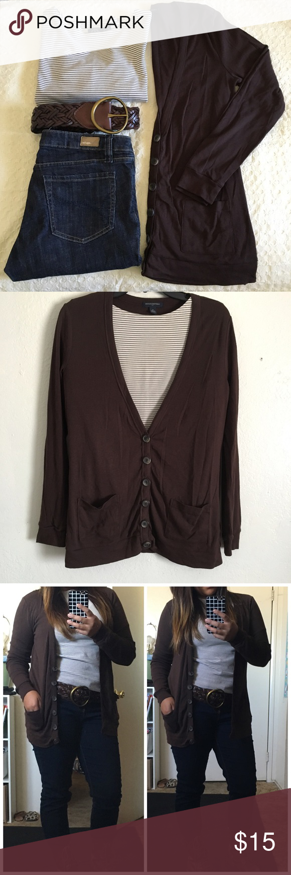 Dark brown cardigan | Dark brown, Banana republic and Dark