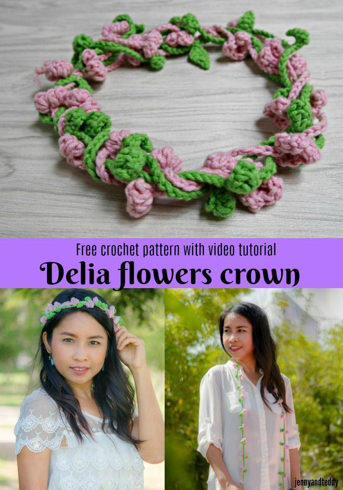 Delia Flowers Crown Free Crochet Pattern With Video Tutorial