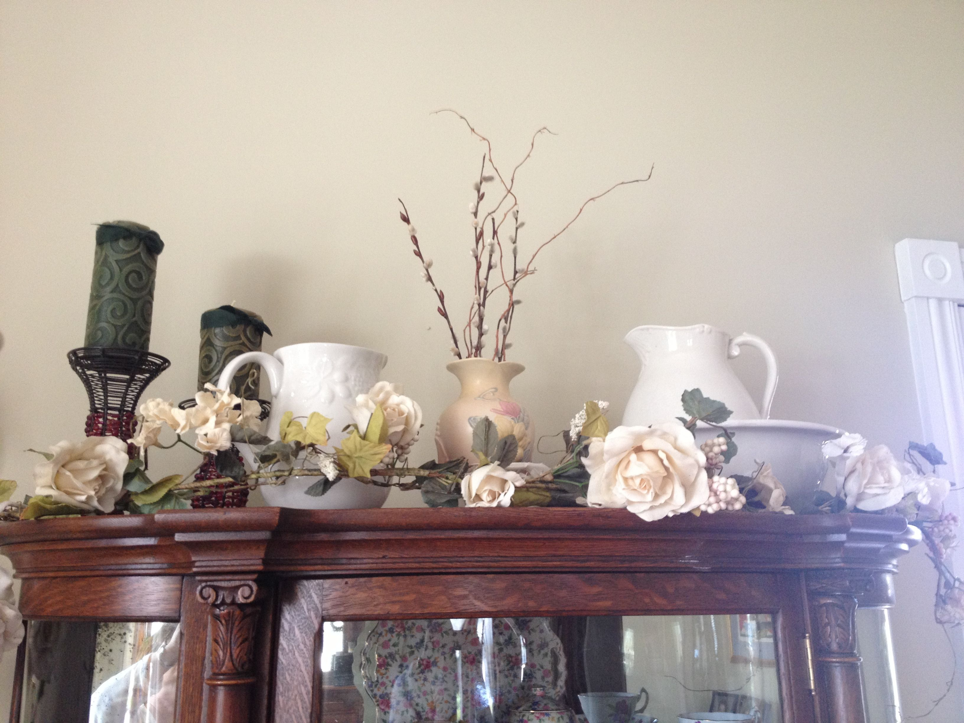 Top of my china cabinet cute home decor pinterest for Home furnishing china