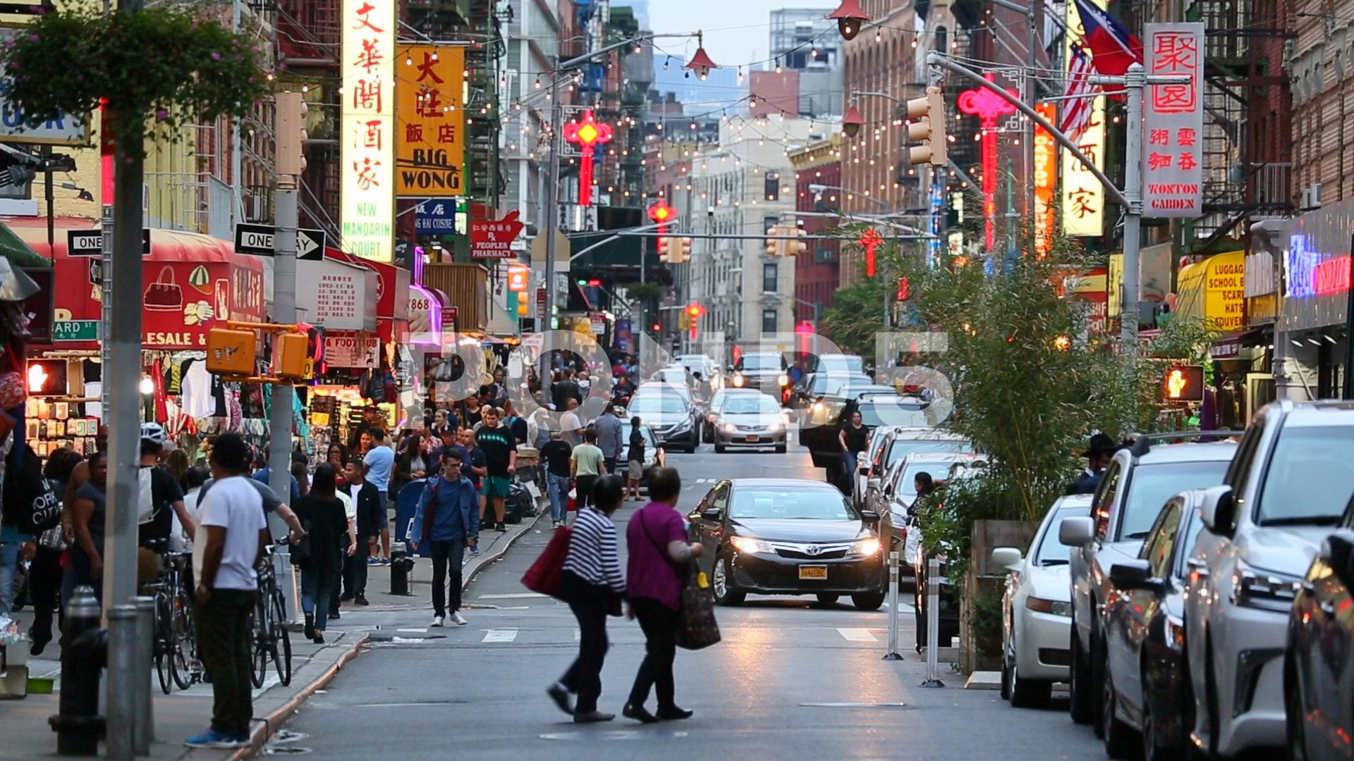 A Busy Street In Chinatown New York City Matching Day Shot