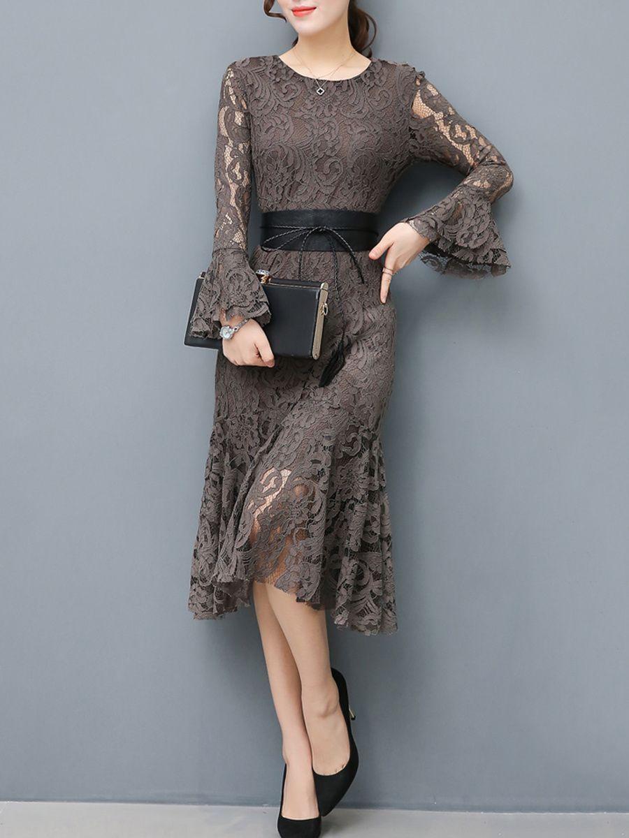 Buy Women Lace Hollow Out Belt Solid Mermaid Bodycon Dress online ...